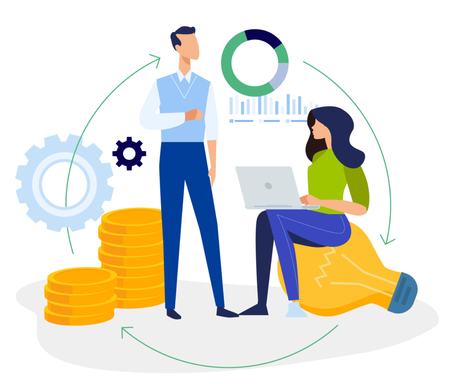 Illustration of a man and a women discussing business and VI's turnkey solution CPaaS communication APIs