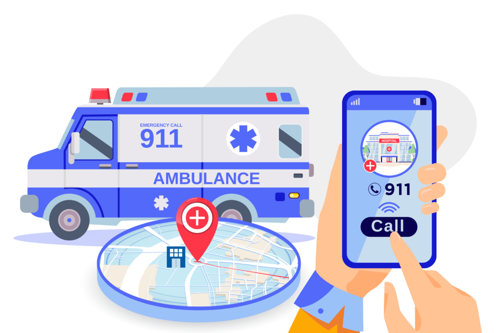 Illustration showing a user calling 911 on a mobile phone with an ambulance and location on a map showing accurate location